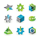 Collection of 9 design elements and graphics. In green, grey and blue color - vector illustration stock illustration