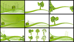 Collection of 9 ecological backgrounds Royalty Free Stock Photo