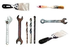 Collection of 9 tools isolated on white Stock Images
