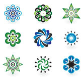 Collection of 9 vector design elements. And graphics in green, grey and blue color Royalty Free Stock Images