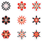 Collection of 9 vector design elements. And graphics in red and black color Stock Photo