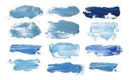Collection of abstract acrylic brush strokes blots. Collection of abstract acrylic blue brush strokes blots stock photos