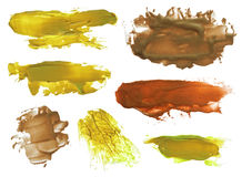 Collection of abstract acrylic brush strokes blots Stock Images