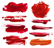 Collection of abstract acrylic brush strokes blots. Isolated stock photos