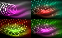 Collection of abstract backgrounds, glowing outline repeating hexagons. Digital techno futuristic shiny effects, energy concept backgrounds stock illustration