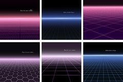 Collection of abstract backgrounds with perspective in retro style 1980-1990s. Digital futuristic design. Grid surface. Collection of abstract backgrounds with royalty free illustration