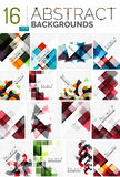 Collection of abstract backgrounds. Repetition of multicolored transparent squares and swirl lines, geometric pattern set. Colorful geometric universal Stock Image