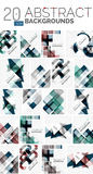 Collection of abstract backgrounds. Repetition of multicolored transparent squares and swirl lines, geometric pattern set. Colorful geometric universal Stock Images
