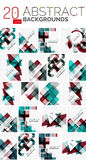 Collection of abstract backgrounds. Repetition of multicolored transparent squares and swirl lines, geometric pattern set. Colorful geometric universal Royalty Free Stock Photos