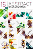 Collection of abstract backgrounds. Repetition of multicolored transparent squares and swirl lines, geometric pattern set. Colorful geometric universal Stock Photos