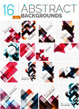 Collection of abstract backgrounds. Repetition of multicolored transparent squares and swirl lines, geometric pattern set. Colorful geometric universal Stock Photography
