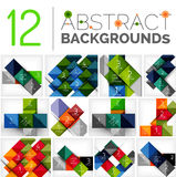 Collection of abstract backgrounds. Repetition of square shapes pattern with option infographics text. Colorful geometric universal template, bright unusual Stock Image