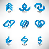 Collection of abstract blue logo in origami style. Set of abstract blue logo in origami style Stock Images