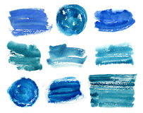 Collection of abstract blue paint brush strokes Royalty Free Stock Photos
