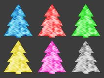 Collection of abstract Christmas trees of different colors. Shiny, precious stones. Vector illustration. Isolated image stock illustration