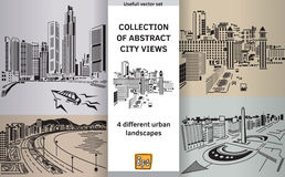 Collection abstract city views landscapes. Set with abstract panoramas. Color vector illustration. Eps 10 Royalty Free Stock Photo