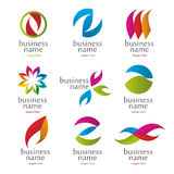 Collection of abstract colored logos stock illustration