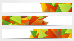 Collection of 3 abstract colorful banners. Set of 3 isolated abstract colorful banners with triangles Stock Image