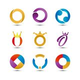 Collection of abstract colorful letter o logo icon. Element Royalty Free Stock Image