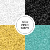 Collection of abstract colorful seamless patterns with floral elements with different colors Stock Photography