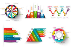 Collection of abstract 3D digital business infographic. Vector design template. Can be used for workflow processes, banner, cycle diagram, presentation round vector illustration