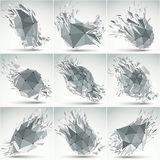 Collection of abstract 3d faceted figures with black connected l. Ines and dots. Set of vector low poly shattered grayscale graphic elements with fragments and Royalty Free Illustration