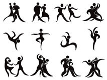 Collection of abstract dancers Stock Photos