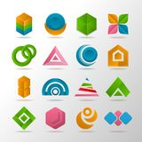 Collection of abstract elements for logo. Design. Data visualization, corporate identity symbols, option information, diagram signs. Colorful infographics for Stock Image