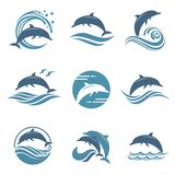 Dolphin emblem set. Collection with abstract emblem of dolphin and sea wave Stock Photography