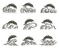 Dolphin emblem set. Collection with abstract emblem of dolphin and sea wave Royalty Free Stock Image