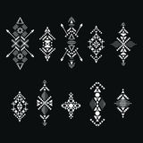 Collection of abstract geometric elements for tribal ornament. Royalty Free Stock Photography