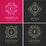 Collection of abstract geometrical icons, elements Royalty Free Stock Images