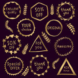 Collection of abstract gold badges. Royalty Free Stock Photography