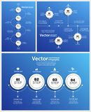 Collection of abstract Infographic design on blue Royalty Free Stock Image