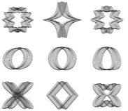 Collection of 9 abstract line ornaments Stock Image