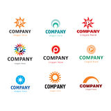 Company logos. Collection of abstract logos with a sun Stock Photo
