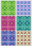 Collection of abstract patterns in various color combinations.Seamless vector textile swatch. Royalty Free Stock Images
