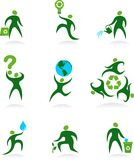 Collection of abstract people logos - 6. Collection of abstract people figures, logos and icons- preservation of environment Royalty Free Stock Image