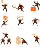 Collection of abstract people logos - 7 vector illustration