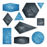 Collection of Abstract polygonal space low poly cards Stock Images