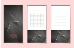 Collection of Abstract polygonal space low poly notebook Stock Images