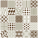 Collection of  abstract seamless compositions best for use. As wrapping papers, symmetric ornate backgrounds created with simple geometric shapes Royalty Free Stock Photography