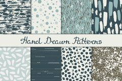 Collection of abstract seamless patterns in blue and brown colors. Ink, pen and brush. Hand drawn. royalty free illustration