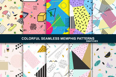 Collection of abstract seamless patterns. Retro memphis style. Royalty Free Stock Image