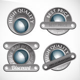 Collection of abstract silver badges Stock Photos