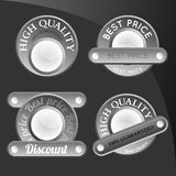 Collection of abstract silver badges Royalty Free Stock Images