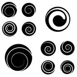 Collection of abstract spiral vector elements. Stock Photo