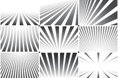 Collection of abstract striped backgrounds. Black and white patterns.  Stock Images