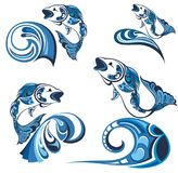 Decorative  fish and sea waves. Collection with abstract symbols of fish and sea waves Stock Image