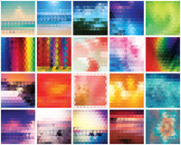 Collection of 20 abstract triangles backgrounds, pattern design. Vector illustration Stock Image